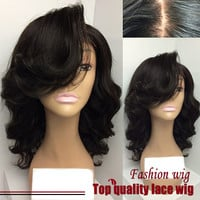 Bob Wigs Synthetic Lace Front Wigs With Bangs With Baby Hair