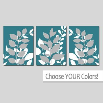 TEAL Wall Art, Bedroom Pictures, Leaves CANVAS or Prints Leaf Bathroom Decor, Foliage Pictures, Flower Art, Set of 3 Home Decor Wall Decor