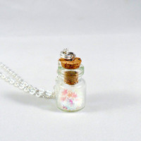 Fairy Glitter Wishing Stars Necklace, Silver Plated Necklace, Cute, Kawaii :D