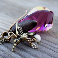 Bronze Purple Amethyst Swarovski Crystal Pendant with Hummingbird Freshwater Pearl Charm Handmade Long Nature Necklace