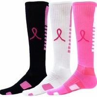 Pink Ribbon Breast Cancer Awareness Pegasus Elite Knee High Tube Socks in 3 Colors