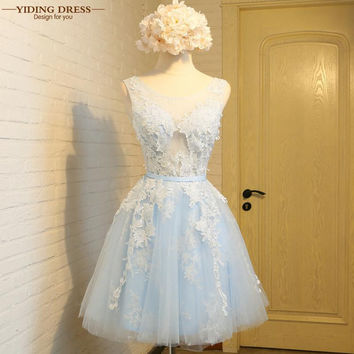 YIDINGZS Pink&Gray Short Lace Prom Dresses 2017 New Arrive Tulle Lace Up Evening Party Dress