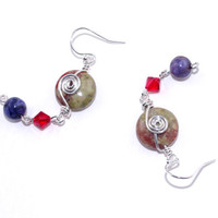 Green brown red jasper bead drop earring dangle  Swarovski crystal ear ring Sterling silver hook wire Purple agate gem stone Gemstone earing