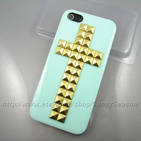IPhone 5 case,Cross Studded Mint Green iPhone 5 Case,Golden Pyramid Studs icecream iPhone Case