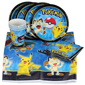 Party with Pokemon and Pikachu! Party Set Includes Table Cover, Plates, Napkins and Cups for 8 by BirthdayExpress
