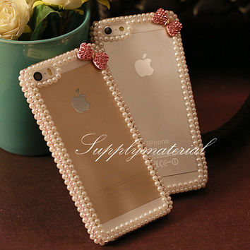 "Bling Crystal Pearls iphone 5 / 5s case, iPhone 4 / 4s case, Fashion bow  iphone 5C / iPhone 6 (4.7"")/ plus case cell phone cover case"