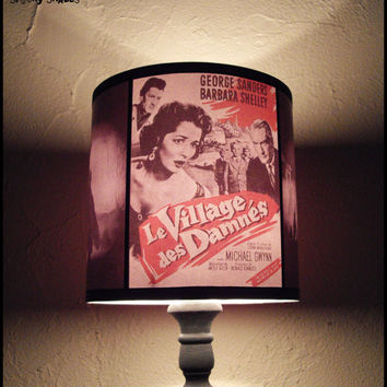 Horror Night lamp shade - SPOOKY SHADES, halloween decor, geekery, classic horror movie, rockabilly decor, gift for a geek