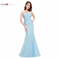 Lace Mermaid Prom Dresses Long 2017 Ever Pretty EP08838 Fashion Small Train Sexy Trumpet V-Neck Elegant Prom Dresses