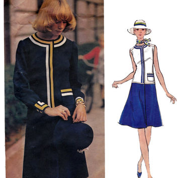 Galitzine Drop Waist Dress 1970s Vogue Couturier Design 2677 Vintage Sewing Pattern Size 12 Bust 34 UNCUT FF