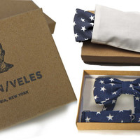 Men's Bow Tie Pre-Tied Navy Blue With White Stars - PERFECT VALENTINES GIFT