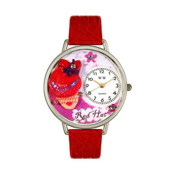 Whimsical Watches Designed Painted Red Hat Madam Red Leather And Silvertone Watch