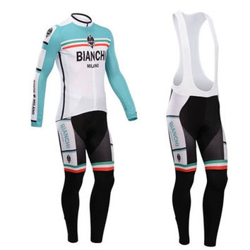 Bianchi Pro cycling Ropa Ciclismo Quick-dry long sleeve Breathable Cycling jersey cloth MTB Bicycle maillot bike clothing Set