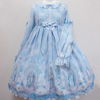 Cecilia Cross One Piece - Sax [162PO02-030046-sx] - $344.00 : Angelic Pretty USA