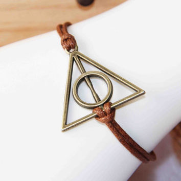 The Deathly Hallows bracelet bronze alloy cotton wax cord bracelet personalized gift daily jewelry