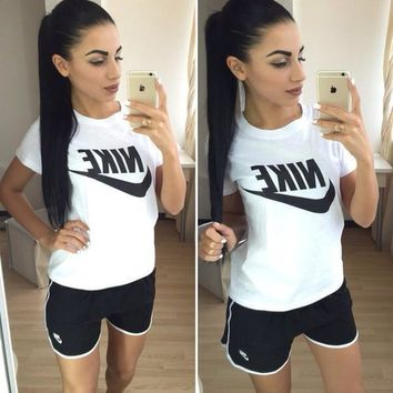 nike women fashion print short sleeve top shorts pants sweatpants set two piece sportswear-3