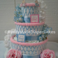 Pink Or Blue Gender Reveal Diaper Cake Themed Baby Shower Decor 3 Tier Elegant Beaded It's a Girl ,  It's a Boy Table Centerpiece Baby Gift