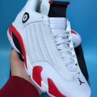 DCCK N760 Nike Air Jordan 14 RETRO LOW AJ14 Prevent Slippery wear-resisting Actual Basketball Shoes White Red