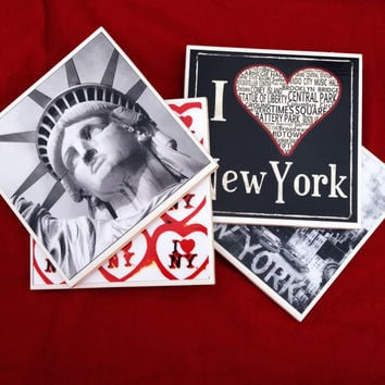 New York Coasters, NYC, Statue of liberty, I Love NY, USA, black and white, City Scape, home decor, decorative coasters, New York Theme