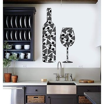 Vinyl Wall Decal Wine Bottle Glass Grapes Alcohol Bar Stickers Unique Gift (ig3947)