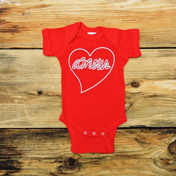 Valentines Baby Shirt, Amour Shirt, Red Infant Bodysuit, Infant Valentine's Shirt, Valentines Day Baby Gift, My 1st Valentine's, Applecopter