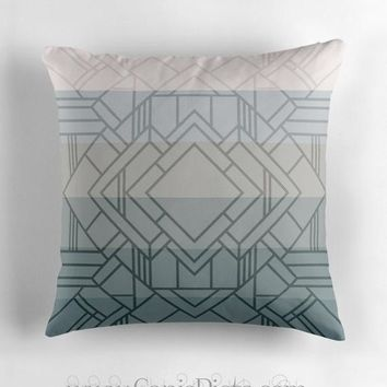Gatsby OMBRE Art Deco Throw Pillow 16x16 Graphic 1920s Print Cover Couch Home Decor Geometric Grey Great Pattern Print Inspired Blue Neutral