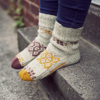 "Autumn mosaic"" Natural hand knit wool socks for women. Wool socks MADE TO ORDER"