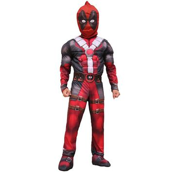New Arrival Deluxe Boys Marvel Anti-Hero Deadpool Children Muscle Movie Halloween Carnival Party Cosplay Costume