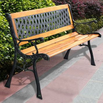 "49 1/2"" Patio Park Garden Bench Porch Path Chair Outdoor Deck Cast Iron Hardwood"
