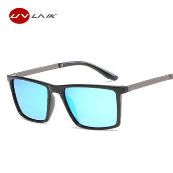 CREYLD1 UVLAIK Polarized Sunglasses Men Vintage Square Sun glasses Male Driving Safety Protect Eyeglasses HD Goggles