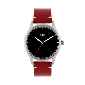 Miró Watches — Black Face Ruby Strap