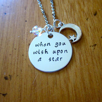 "Pinocchio Inspired Necklace. Jiminy Cricket ""When You Wish Upon A Star"". Swarovski crystals, for women or girls. Hand stamped. Pinocchio"