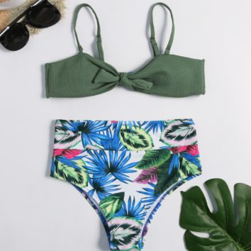 Sexy Split Print Triangle Beach Bikini [1410539388964]