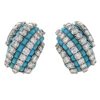 Van Cleef & Arpels Mid-20th Century Turquoise Diamond Gold Platinum Earrings