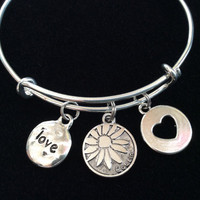 Silver Cousin with Cut Out Heart and Hammered Love Charm on a Silver Expandable Bangle Bracelet Meaningful Gift