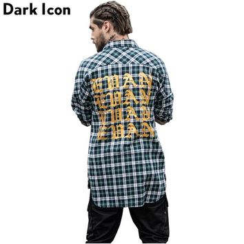Gothic Letter Printed Shirttail Flannel Plaid Shirts Men Long Sleeve 2017 Spring Curved Hem Hip Hop Shirt Men Cotton 3 Colors