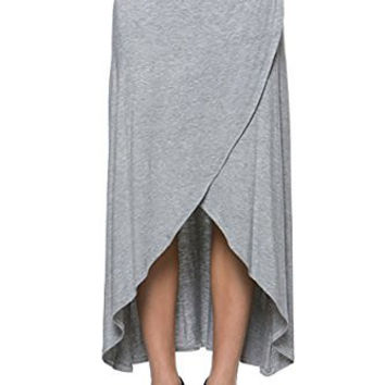 Women's Hi-Low Asymmetic Hem Draped Maxi Long Skirt