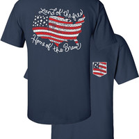 Southern Couture Land of the Free USA Flag American Aztec Faux Pocket Navy Girlie Bright T Shirt
