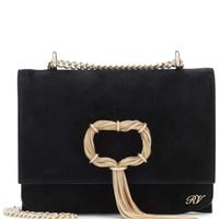 Chain Buckle suede shoulder bag