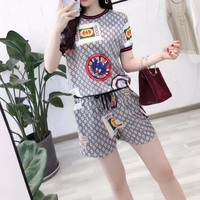 Gucci Fashion Casual Pattern Letter Print Round Neck Sportswear Set Two-piece