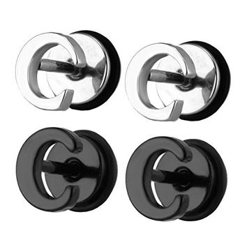 Charisma Stainless Steel Alphabet Letters Initial Stud Earrings Steel Black IP Plated Fake Cheaters Faux Illusion Plugs Earrings (C)