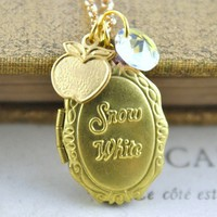 Snow White Locket Gold Tone Fairytale Necklace by pennymasquerade