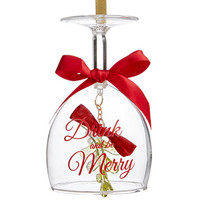 Holiday Lane Drink And Be Merry Wine Glass Ornament, Created for Macy's | macys.com