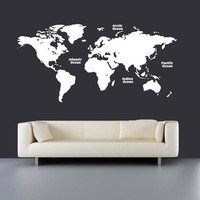 Wall Decal Vinyl Sticker Decals Art Decor Design Map of The World Mural Modern Map Counrty Names Word Ocean Sign Bedroom Style (r411)