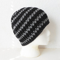 Unisex Skullcap Beanie Hat in Black with Grey Stripes, ready to ship.