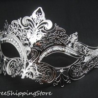 Luxury Elegant Silver Metal Laser Cut Venetian Masquerade Mask with Rhinestones