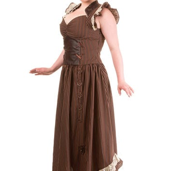 Plus size Long Brown Black Striped Steampunk Vintage Victorian Corset Dress
