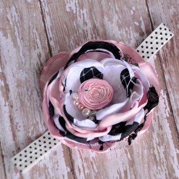 Little Paris headband - Pink, white and black polka dot satin flower