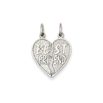 14k White Gold Polished Best Friend Heart Pendant