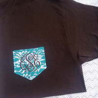 Lace Pocket tee Brown and Teal