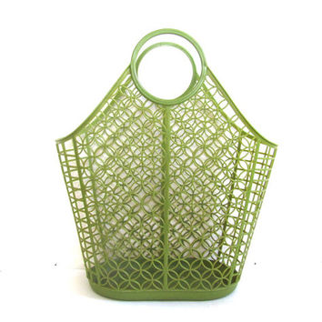 Vintage Green Plastic Tote for the Market // Shamrock Neatway Plastic Tote Grocery Bag